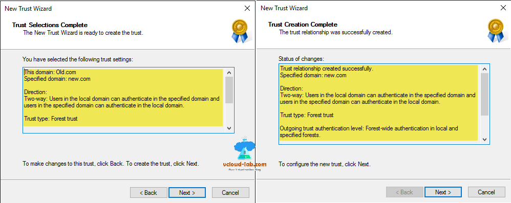 active directory turst selection and creation complete, trust type, forest trust, two-way, outgoing trust authentication cross domain admin privileges