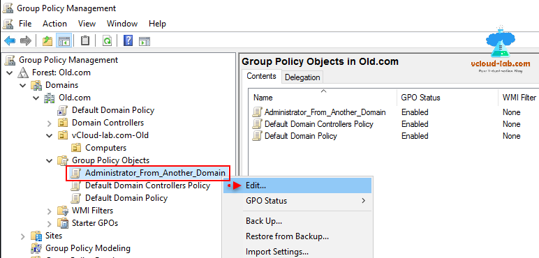 Group policy management forest, domains, group policy object, gpo, default domain policy, edit gpo, administrator from another domain.png