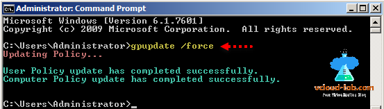 group object management command prompt, cmd, gpupdate force, updating policy, user and computer update completed succesfully, group policy editor.png