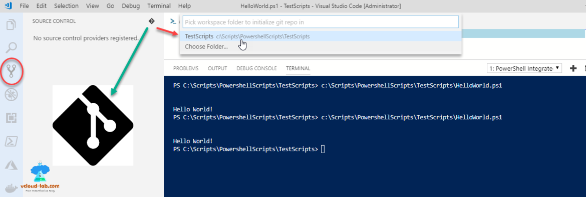 Powershell visual studio code Source control git choose folder for git initial push control
