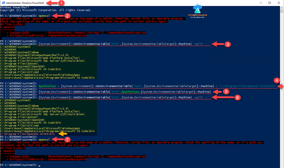Powershell openssl system.environment getenvironmentvariable path, setup openssl, as administrator, the term is not recognized as the name of cmdlet, system.Environmentvariabletarget.png