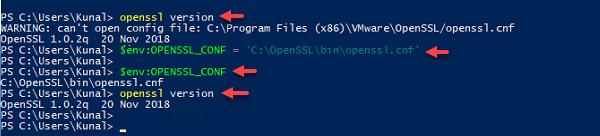 powershell openssl warning can't config file openssl cnf, environment env OPENSSL_CONF, as administrator, openssl version, setup path in environment variable, create new key and crt certificate self signed.png