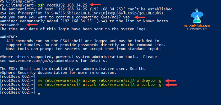 powershell ssh server mv rsa self signed certificate esxi ssh using windows 10 ssh client putty, mv move change file name esxi banner crt and key rui.png
