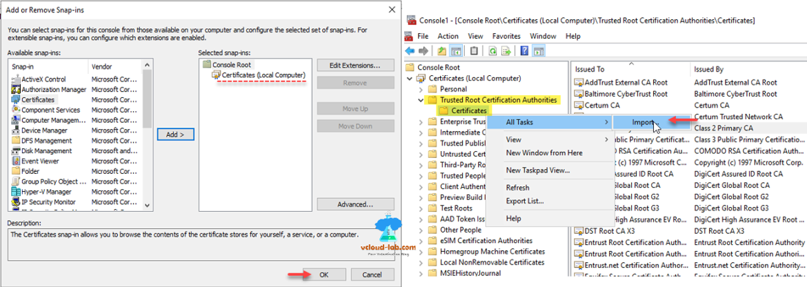 vmware powershell ssl add or remove snap-ins certificates local computer trusted root certification authorities certificates all tasks import openssl issued by and to.png