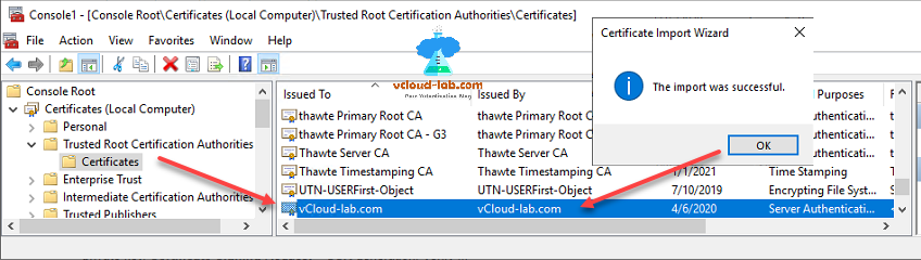 vmware esxi mmc console root certificates local computer trusted root certification authorities certificates import wizard, the import was successful openssl.png