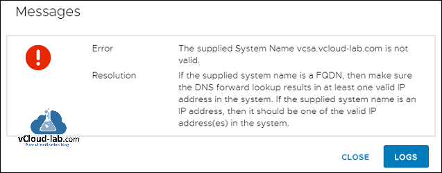 vcenter server appliance deployment installation error messages the supplied system name is not valid, dns forward backward lookup FQDN, dns name resolution.png
