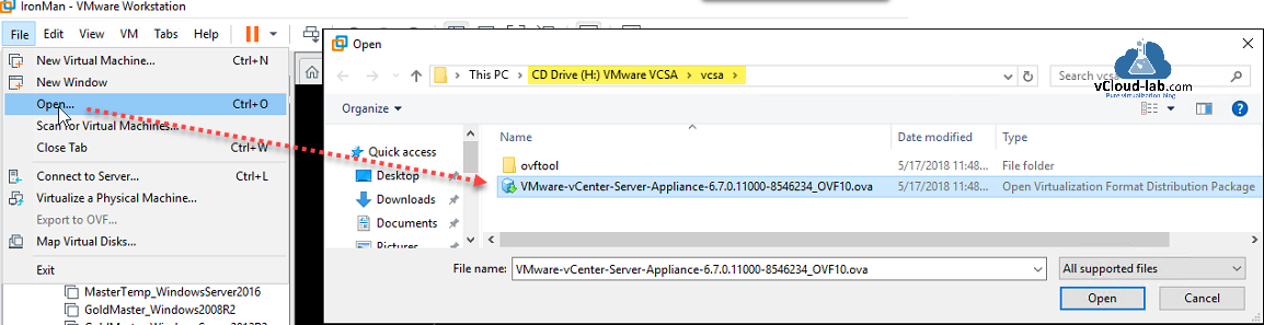 vmware vsphere vcenter appliance vcsa on vmware workstation ovf ova deployment installation lab setup vcenter dns host a record vcenter configuration ovftool vcsa 6.7.png
