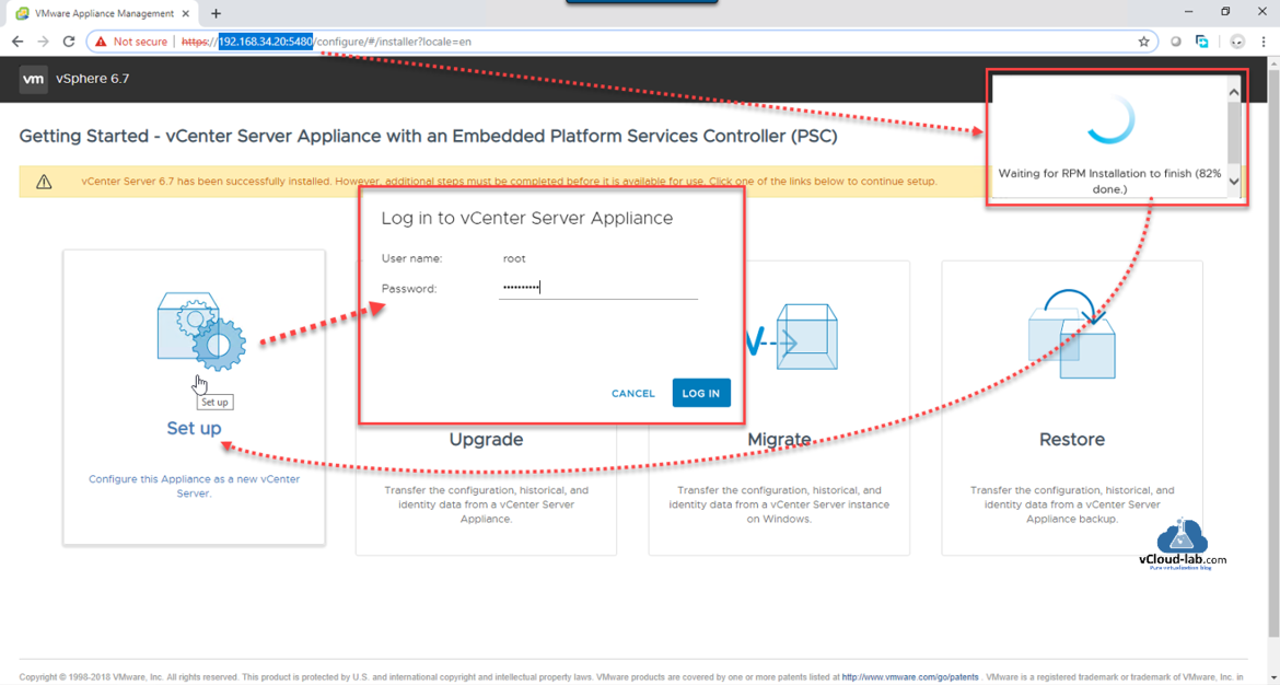 VMware Appliance Management Log in to vCenter Server appliance Configuration vmware workstation embedded Platform services controller (PSC) Set up RPM.png