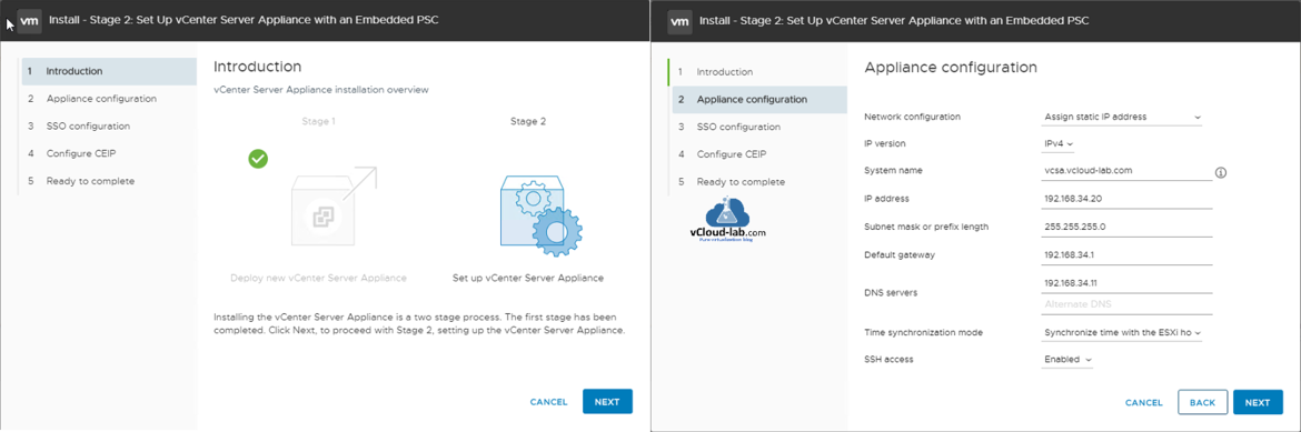 vcsa vcenter appliance configuration phase 1,2  stage 1,2 installation sso configuration single signed on psc platform services controller ceip embedded PSC vmware workstation.png