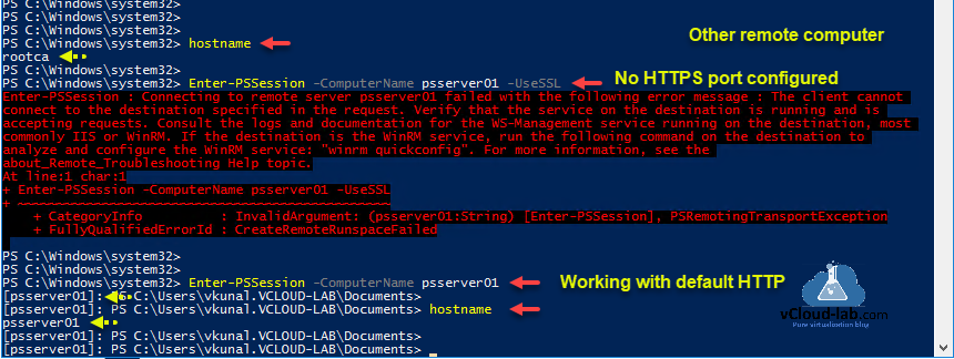 Powershell as administrator hostname environment env computername Enter-PSSession -ComputerName -UseSSL WinRM Service IIS winrm quickconfig ssl certificate port 5985 and 5986 psremoting error successful.png