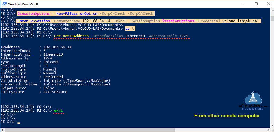 Microsoft Windows Powershell Enable-PSremoting -usessl -credential Invoke-Command New-PssesionOption -skipCNcheck -skipCAcheck Get-NetIPAddress PSremoting winrm wsman ssl certificate authority https 5986.png