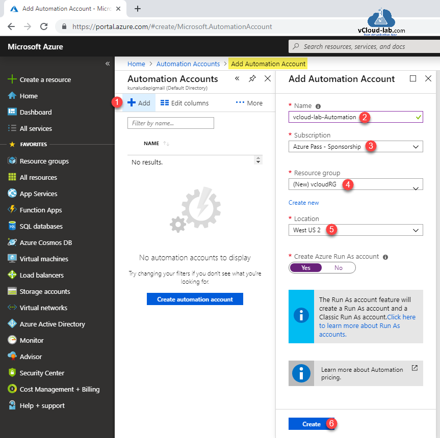 Microsoft Azure Add automation Account All services Resource group free subscription sponsership Azure create automation account Run as Account powershell desired state configuration azure DSC as a code.png