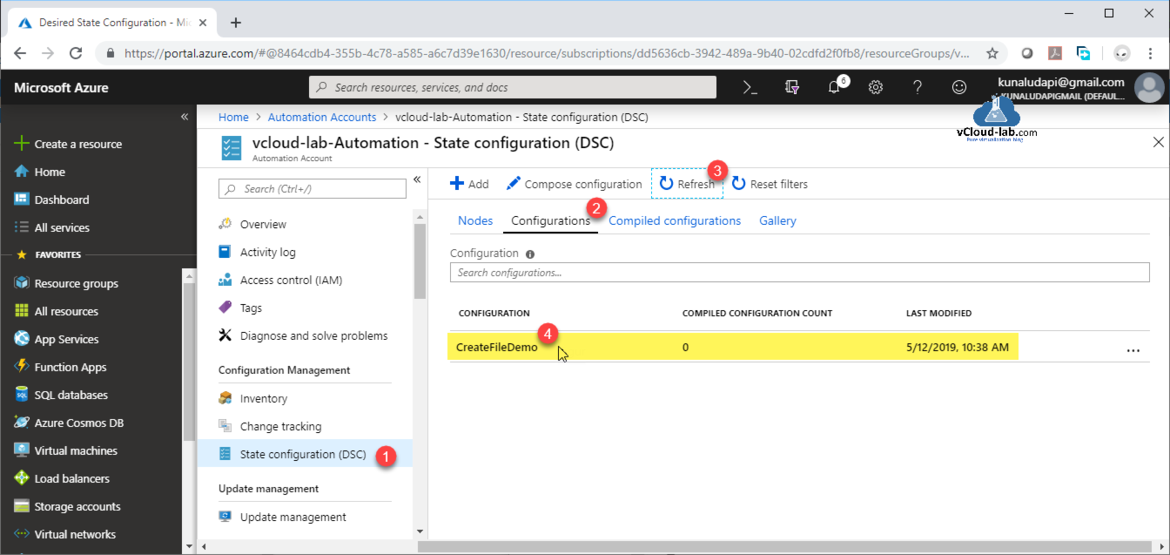 Microsoft Azure free subscription sponsership Create a automation account desired state configuration (DSC) Complied configurations import dsc script upload ps1 configuration diagnose solve problems IAM.png
