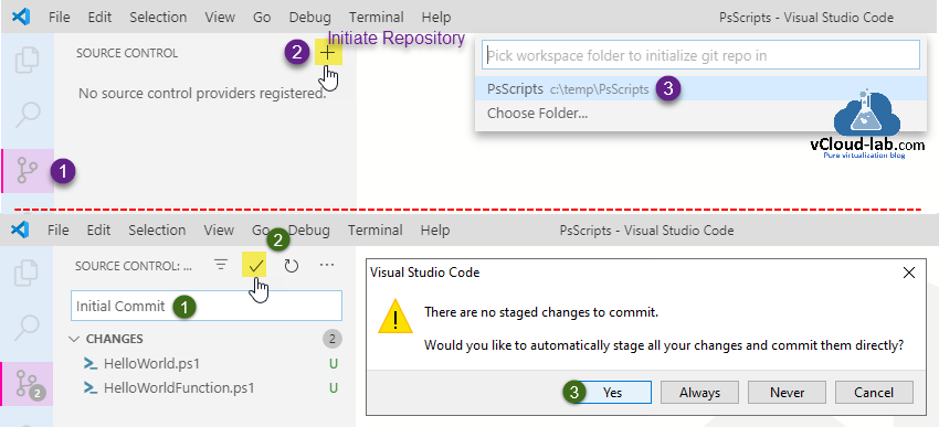 visual studio code source control initiate repository no source control providers registered  initial commit there are no staged chages to commit.png