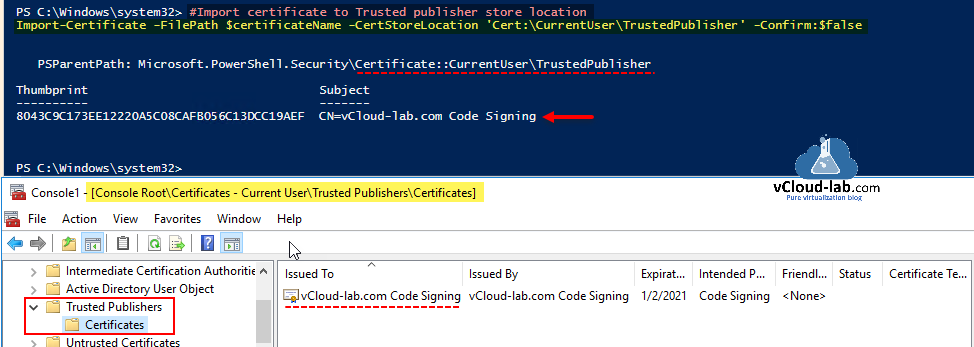 Microsoft powershell Import-certificate certstorelocation trusted publisher confirm psparentpath currentuser mmcconsoe codesinging powershell ssl security hardening subject