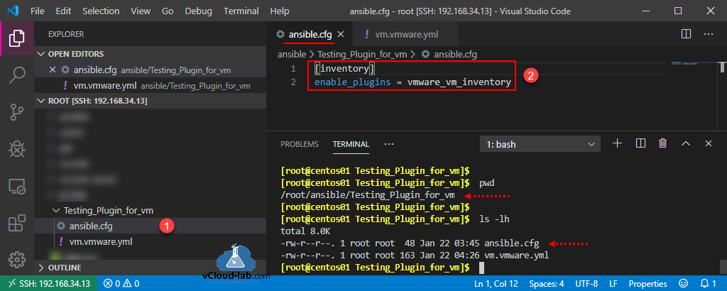 ansible.cfg testing plugin for vm vmware_vm_inventory ansible automation programming devops yml yaml scripting enable_plugins inventory ini.png