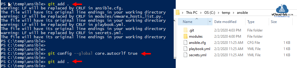 git add all warning lf will be replaced by CRLF in ansible.cfg the file will have its original line endings in your working directory automation source control version powershell commit push.png