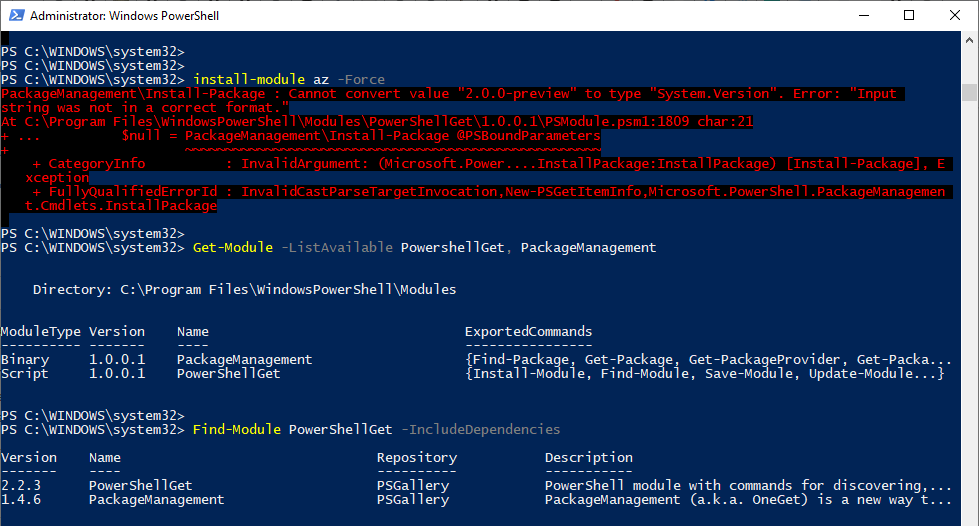 Powershell Azure install-module az -force Get-module -listavailable PowershellGet, PackageManagement Find-Module Install-Package Error Input string was not in a correct format.png