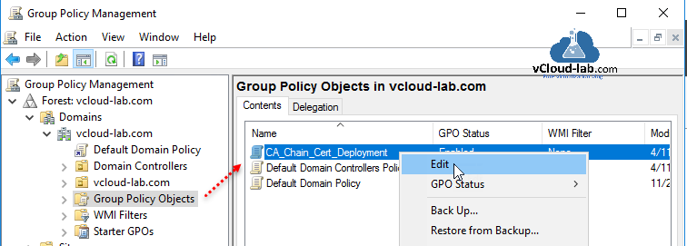 Group Policy Management group policy object ca ssl certificate root chain deployment certificate authority active directory certificate services ca server install and configure.png