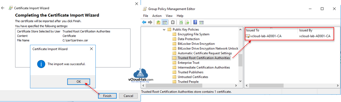 Completing the certificate import wizard successfull trusted root certification authorities deploiy activie directory certificate services ssl certificate group policy management ldap vmware federation fs.png