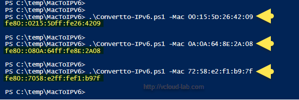 convertto-ipv6.ps1 microsoft powershell, convert mac address to  ipv6 address select-object mac to local link ip address.png