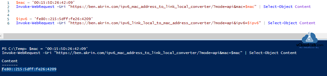 Powershell convert physical network adapter mac address to IPV6 link local address Invoke-WebRequest fe80 ff fe 128 bit 48 bit invoke-webrequest convert uri select-object.png