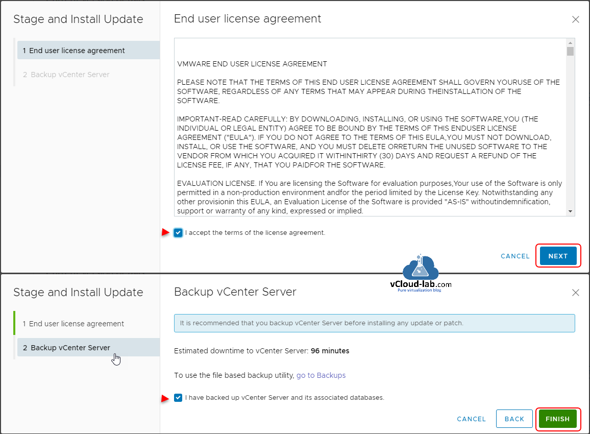 vmware vcenter vsphere esxi stage and instal update fix vcsa vcenter server appliance backup vCenter Server database upgrade update fix security patch.png