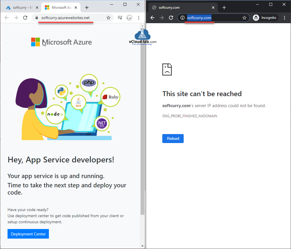 Azure web apps, app service plan, paas platform as a service, domain name ssl website hosting microsoft iis nginx windows apache httpd azurewebsites.net softcurry url test.PNG