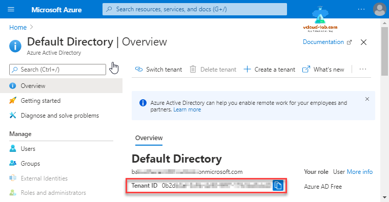 Microsoft Azure Default Directory Azure Active Directory Tenant ID UID onmicrosoft.com storage accounts blobs container properties azcopy copy list login switch tenant.png