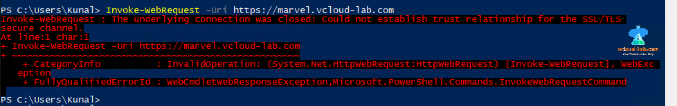 Microsoft Powershell invoke webrequest -uri the underlaying connection was closed could not establish trust relationship for the ssl tls secure channel invalid operation certificate.png