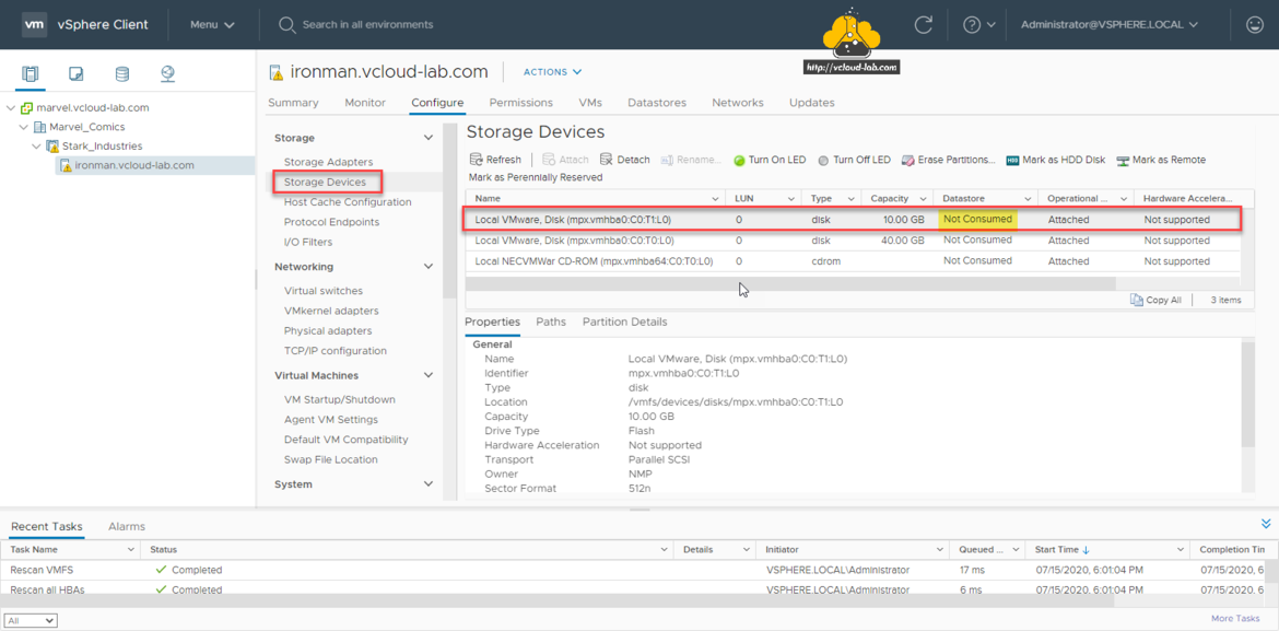 VMware vSphere esxi add datastore storage adapters storage devices configure mpx.vmhba0 capacity hardware acceleration transport prallel scsi owner NMP 512n vcenter vsphere client rescan VMFS rescan all HBAs lun.png