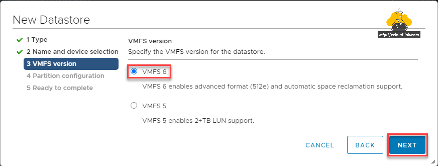 VMware vsphere new datastore VMFS version vmfs 6 advanced format (512e) and automatic space reclaimation support gpt 2 tb lun support vsphere client vcsa vcenter server appliance.png