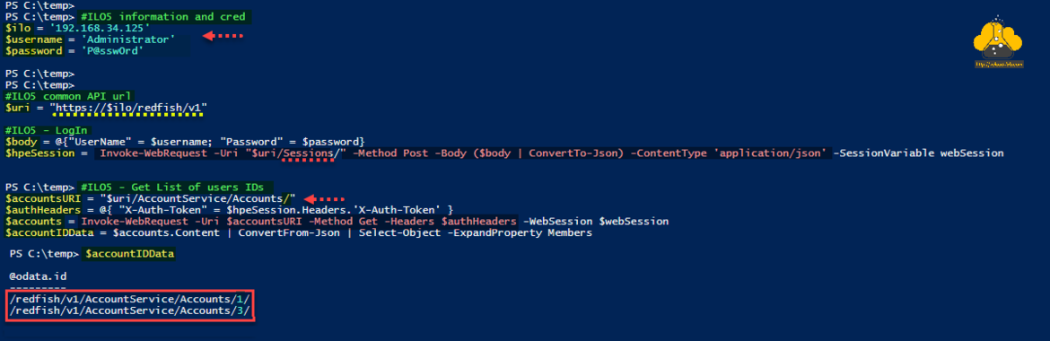 Microsoft Powershell hpe ilo5 restful api redfish x-auth-token account serviices invoke-webrequest method get delete header authentication header convertfrom-json select-object expandproperty convertto-json body .png