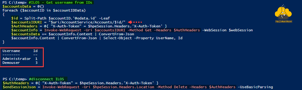 Microsoft Powershell Invoke-RestMethod Invoke-WebRequest -uri authentication header method put get delete post x-auth-token HPE ILO5 restful rest api automation select-object convertfrom-json split-path leaf.png