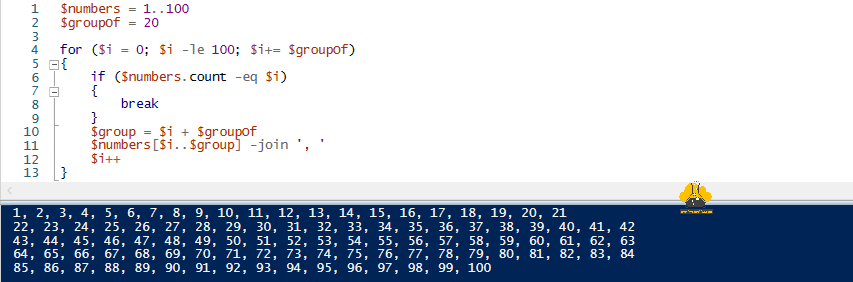 Microsoft powershell slice array into group of array cut group array into smaller array foreach-object for if else elseif join.png