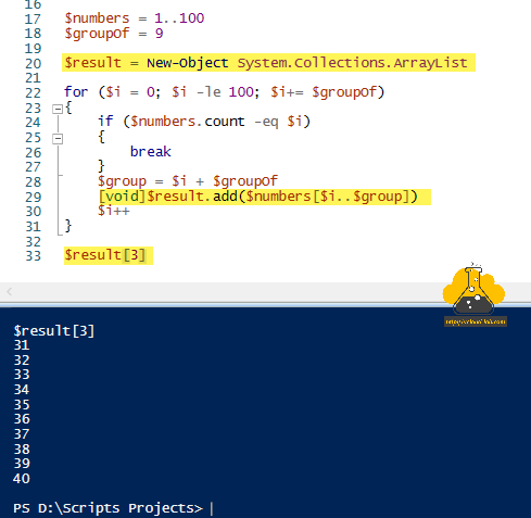Microsoft powershell slice array into group of array cut group array into smaller array foreach-object for if else elseif join system.collections.arraylist new-object add method.png
