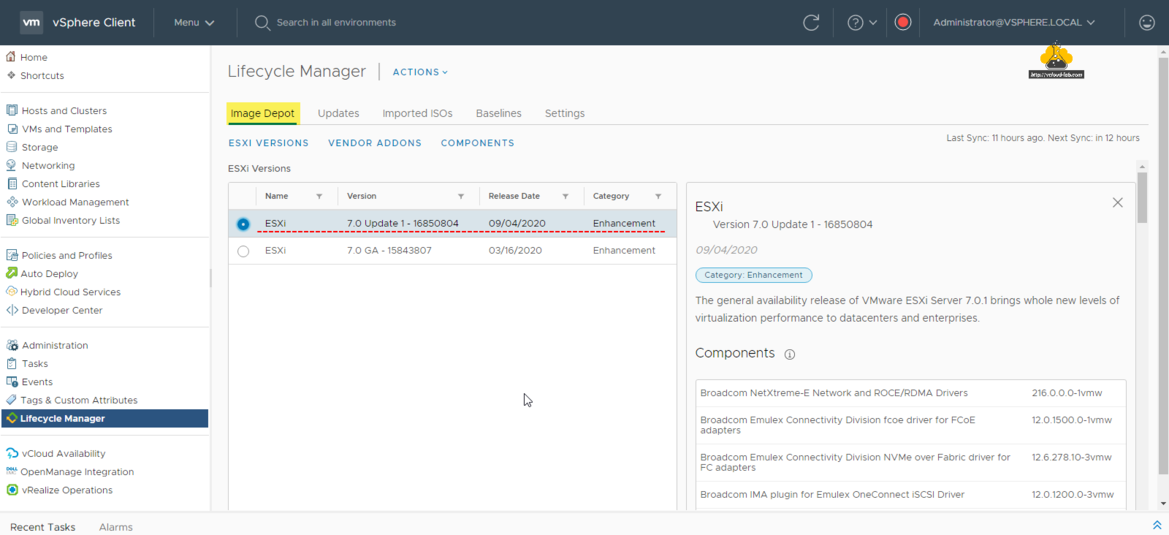 vmware vsphere esxi vcenter lifecycle manager patcing image depot esxi versions vendor addons componets baselines imported isos updates actions auto deploy administration vsphere client tasks.png