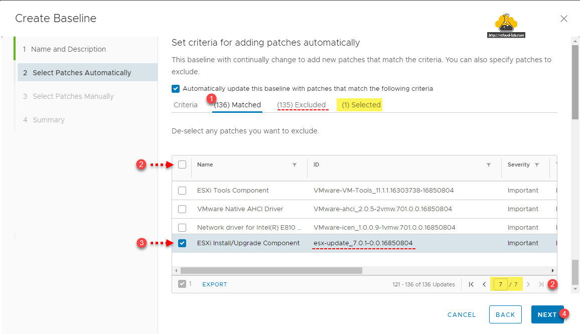 vmware vsphere esxi vcenter lifecycle manager vmware update manager vum create baseline select patches automatically esxi install upgrade component bundle patch matched excludeed criteria selected.png