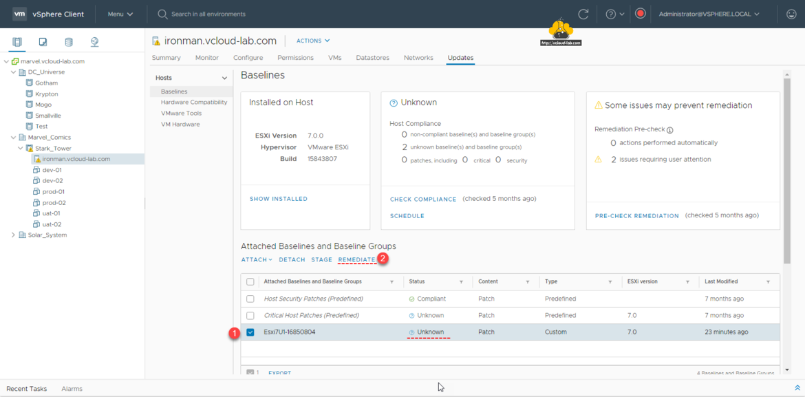 vmware vsphere esxi lifecycle manager update planner attach baseline groups detach stage remediate check compliance schedule patching pre-check redmediation complaint unknown bundle.png
