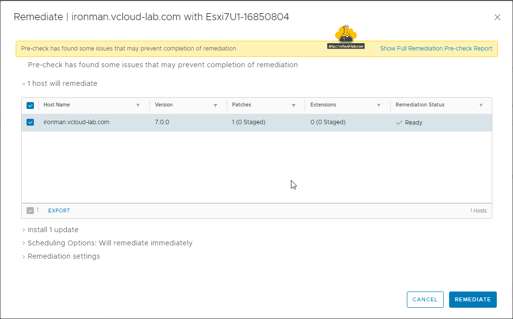 vmware vsphere remediate esxi server with lifecycle manager vmware update manager vum pre-check scheduling option remediation settings export patch bundle.png