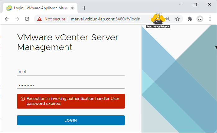 Vmware vSphere vCenter server management 5480 vami root login exception in invoking authentication handler User password expired change password policy.png