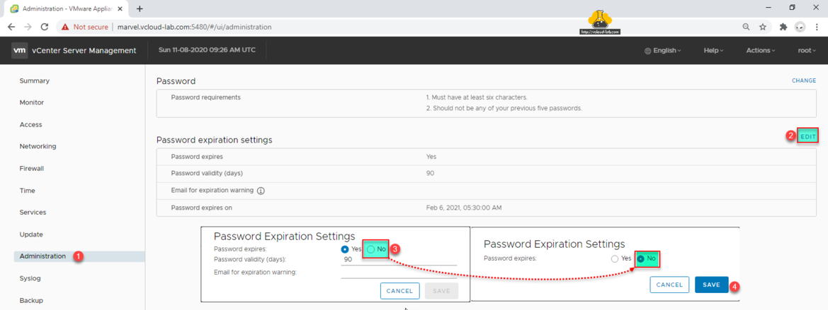 vmware vcenter server management vami 5480 administration password expiration settings password expires password validity days 90 email warning vcenter server.png