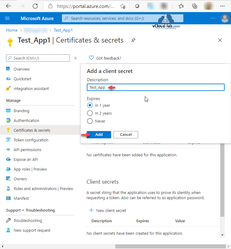 Microsoft Azure portal Powershell Rest api azure certificates & secrets add a client secrets expires in 1 year never token configuration branding authentication api permissions expose an api certificates.png