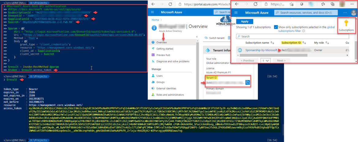 Microsoft Azure Powershell Rest API authentication subscriptionID TenentID applicationid secret post method invoke-restmethod access_token oauth2 api-version client_credentials client_id client_secret bearer.png