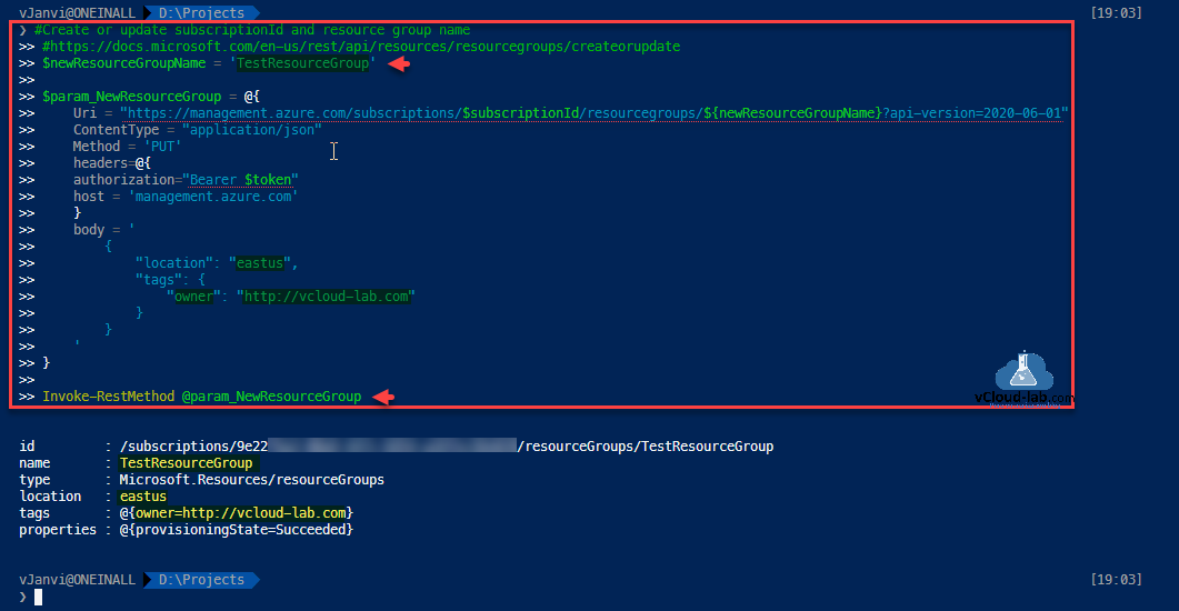 Microsoft Azure Powershell rest api resource group create update subscription id location tags headers body method put contenttype application json uri invoke-restmethod provisioningstate management.azure.com.png