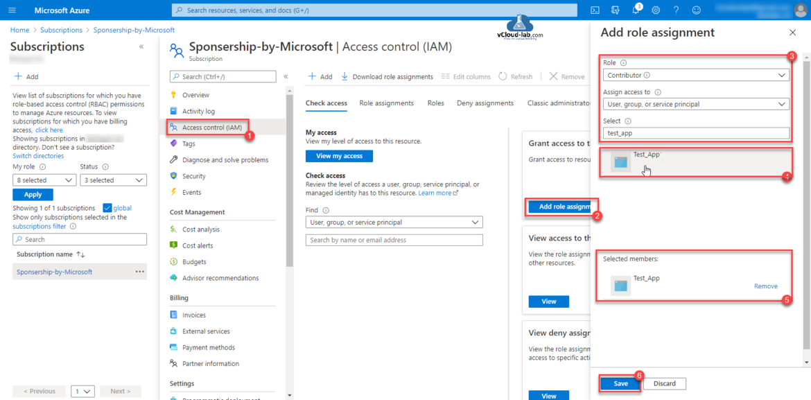 Microsoft Azure Rest API Powershell RBAC role-based access control permissions resources subscription id add role assignment contributer access control (IAM) assign access to contributer owner deny assignment members.png