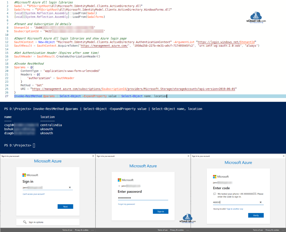 Microsoft Azure Rest Api Powershell microsoft.identityModel.clients.activeDirectory.windowsForms.dll tenant id subscription new-object authenticationcontext invoke-restmethod authorization authheader.png