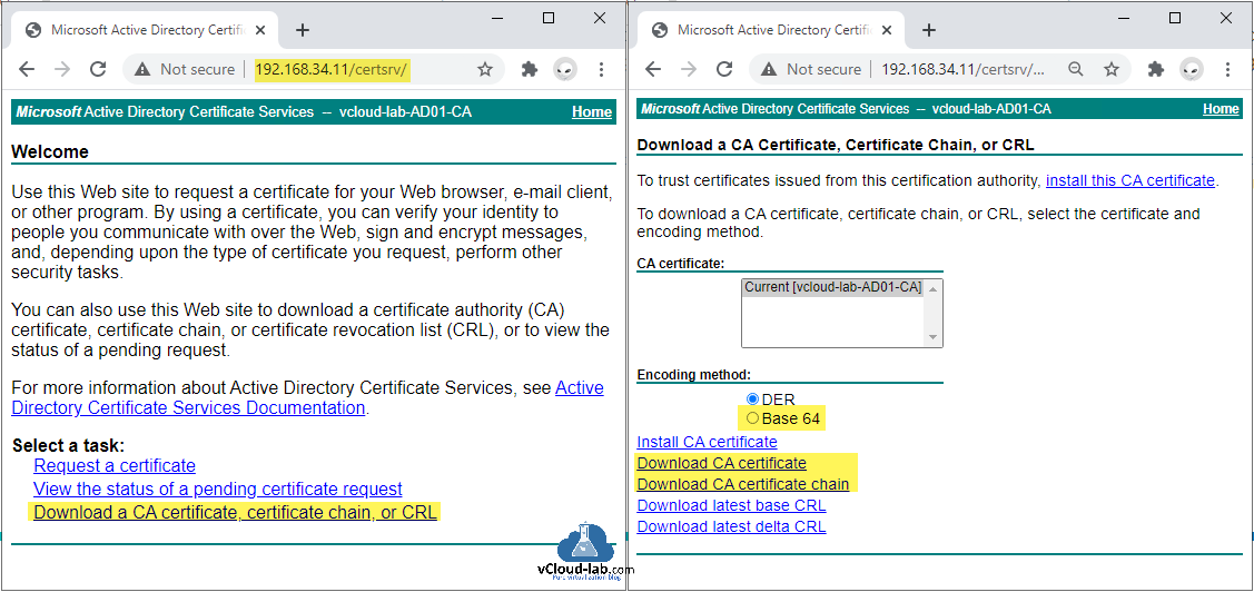Microsoft active directory certificate services root certificate authority request a ssl certificate download certificate chain or CRL der base 64 vmware vsphere vcenter appliance upgrade curl.png