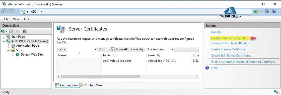 Microsoft windows server internet information services IIS manager default web site application pools create certificate request complete certificate request create domain certificate self-signed renewed.png