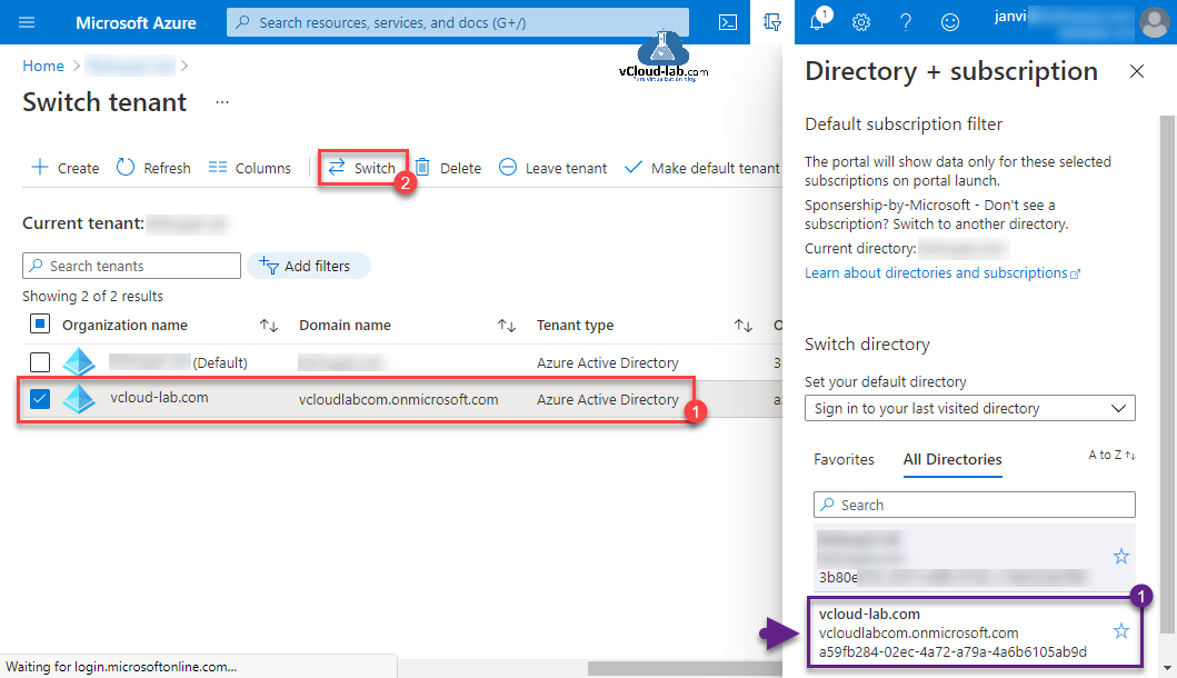 Microsoft Azure Switch tenant leave tenant make default tenant change directory subscription onmicrosoft.com powershell azurecli az change switch directory default how to.png